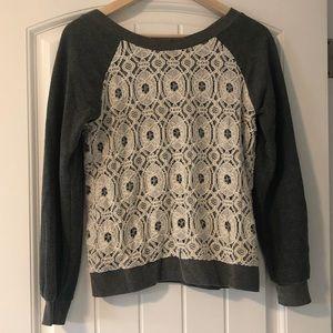 Anthropologie lace sweatshirt